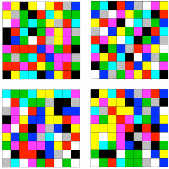 Four Random 9 By Colour Squares